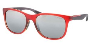 Prada Sport PS 03OS OAK4S1 GRAY GRADIENT MIRROR SILVERTOP MATTE RED ON YELLOW
