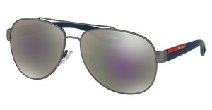 Prada Sport PS 55QS DG12E2 GREY MIRROR MILKY BLUEGUNMETAL RUBBER